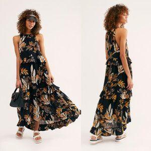 Free People Anita Printed Maxi Black Dress. M